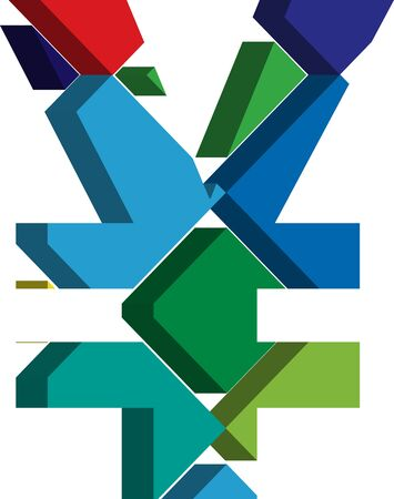 punctuation mark: Colorful three-dimensional YEN Symbol