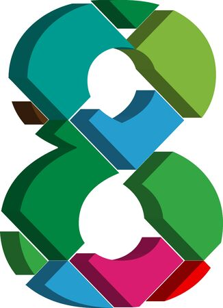 number 8: Colorful three-dimensional font number 8 Illustration