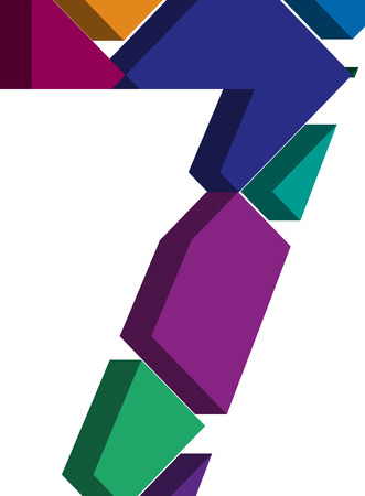 three dimension shape: Colorful three-dimensional font number 7