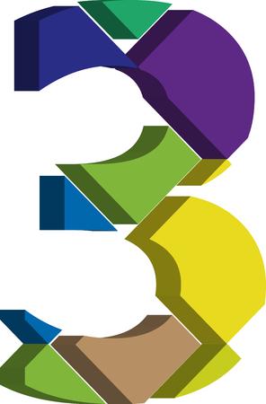 number 3: Colorful three-dimensional font number 3 Illustration