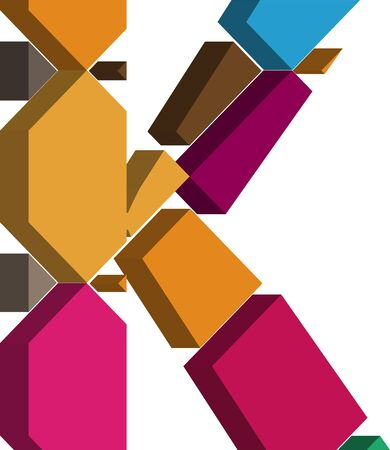 three dimension shape: Colorful three-dimensional font letter K