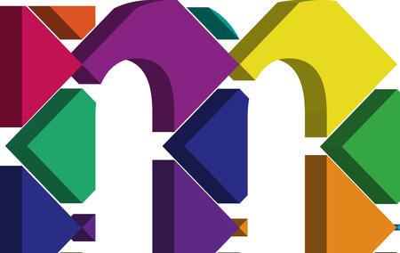 three dimension shape: Colorful three-dimensional font letter m Illustration