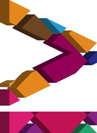three dimension shape: Colorful three-dimensional font more equal Symbol Illustration