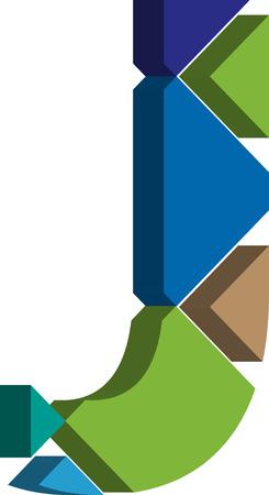 three dimension shape: Colorful three-dimensional font letter J Illustration
