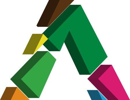 three dimension shape: Colorful three-dimensional font ^ Symbol