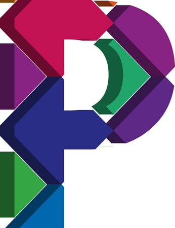 three dimension shape: Colorful three-dimensional font letter P Illustration