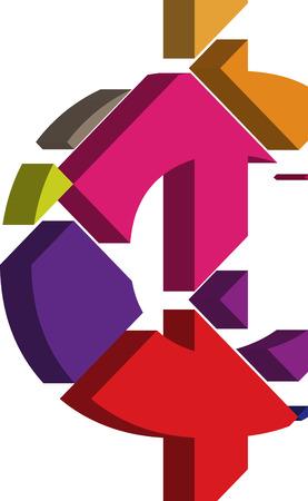 punctuation mark: S�mbolo colorido CENT tridimensional