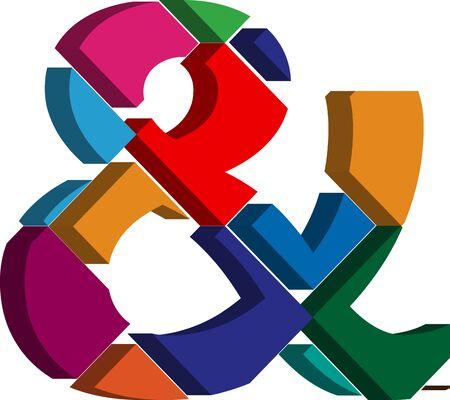 three dimension shape: Colorful three-dimensional font and Symbol Illustration