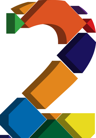 number 2: Colorful three-dimensional font number 2