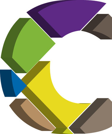 three dimension shape: Colorful three-dimensional font letter c Illustration