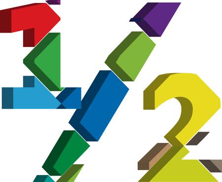 three dimension shape: Colorful three-dimensional 12 Symbol