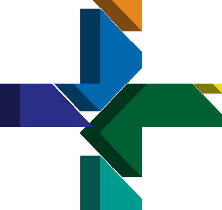 three dimension shape: Colorful three-dimensional CROSS Symbol