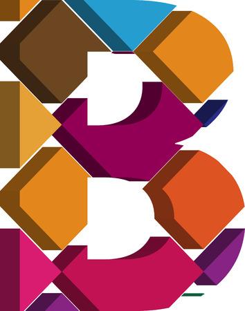 three dimension shape: Colorful three-dimensional font letter B