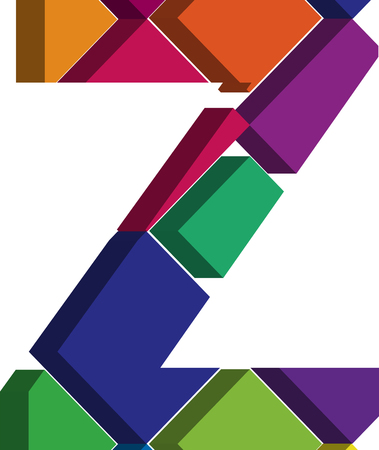 three dimension shape: Colorful three-dimensional font letter Z Illustration