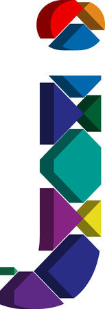 three dimension shape: Colorful three-dimensional font letter j