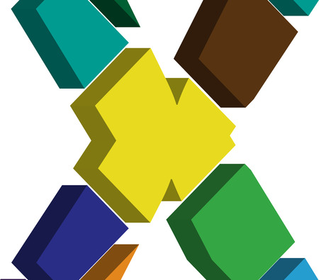 letter x: Colorful three-dimensional font letter x