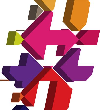 three dimension shape: Colorful three-dimensional font Symbol