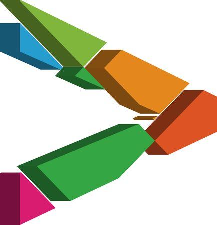 three dimension shape: Colorful three-dimensional font Symbol
