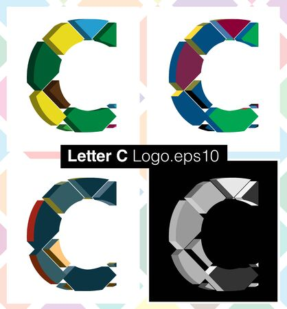 three dimension shape: Colorful three-dimensional font letter C