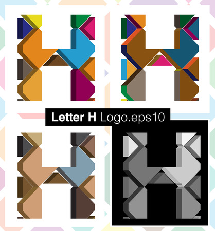 three dimension shape: Colorful three-dimensional font letter H