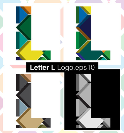 three dimension shape: Colorful three-dimensional font letter L