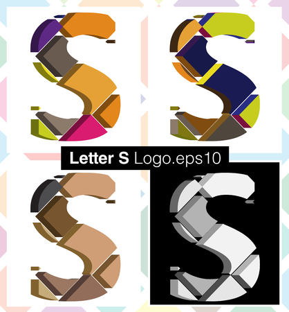 letra s: Colorful three-dimensional font letter S Vectores