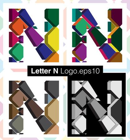 three dimension shape: Colorful three-dimensional font letter N
