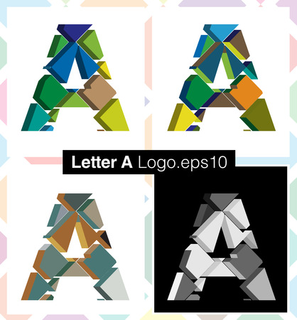 three dimension shape: Colorful three-dimensional font letter A