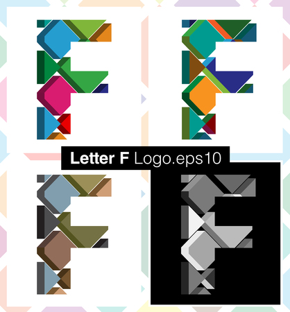letter f: Colorful three-dimensional font letter F Illustration