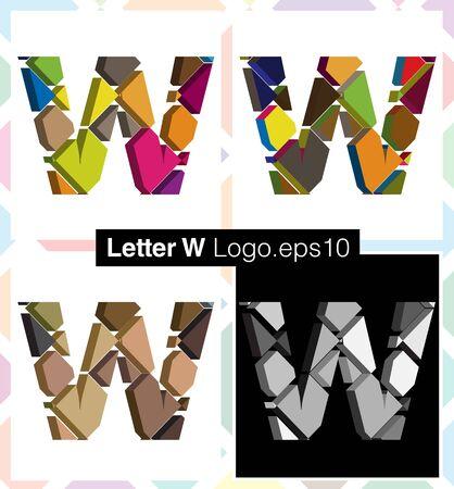 three dimension shape: Colorful three-dimensional font letter W