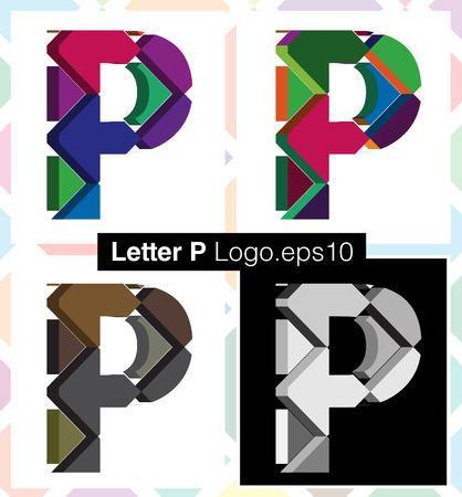 three dimension shape: Colorful three-dimensional font letter P Illustration