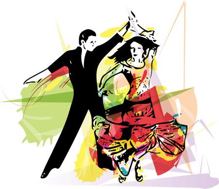 seduction: Abstract illustration of Latino Dancing couple Illustration