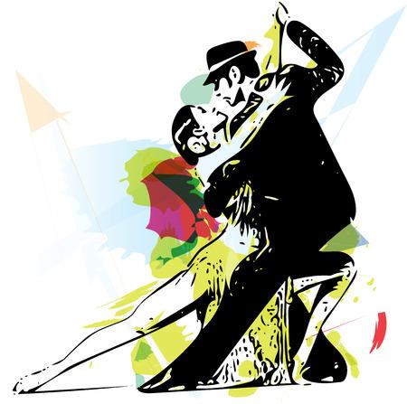 ラテン系のダンスのカップルの抽象的なイラスト  イラスト・ベクター素材