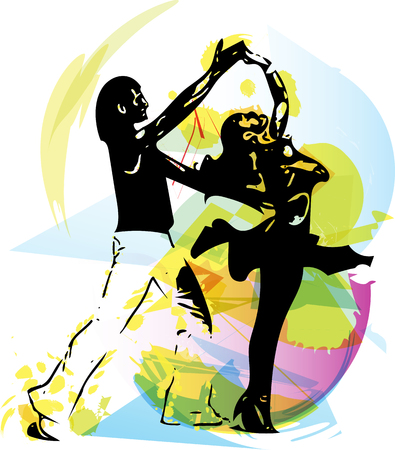 waltzing: Abstract illustration of Latino Dancing couple Illustration