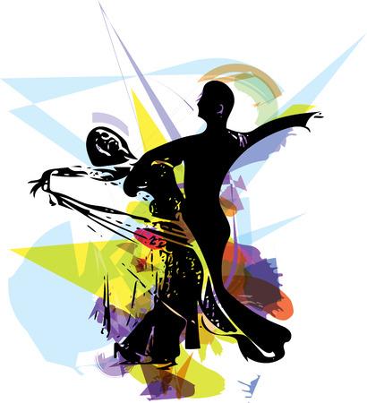 라틴계 댄스 커플의 추상 그림