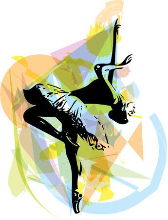 croquis abstrait de belle ballerine
