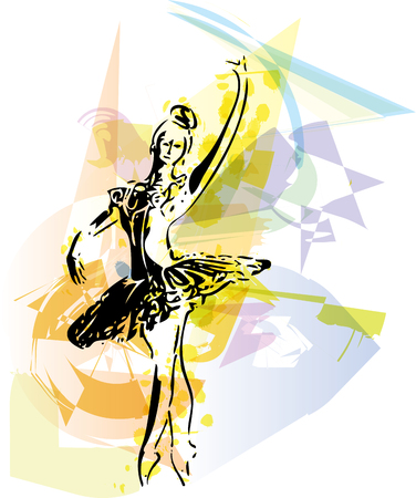 flexible woman: abstract sketch of beautiful ballerina