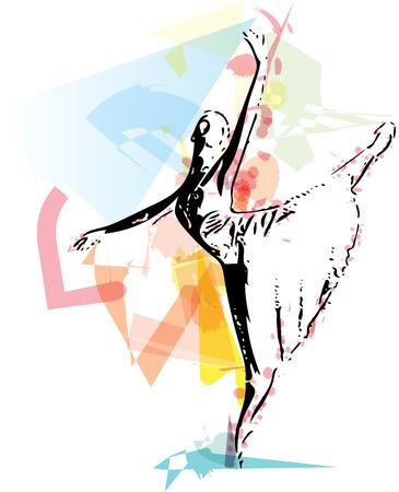 croquis abstrait de belle ballerine Vecteurs