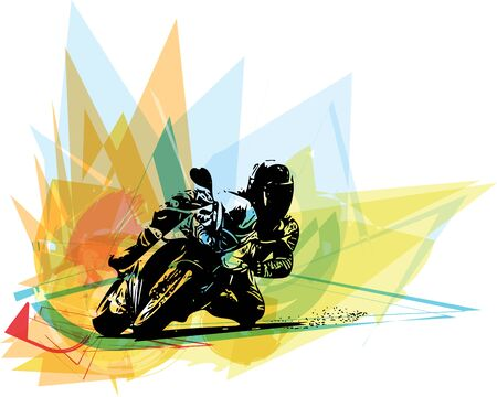 motorsports: Extreme motocross racer by motorcycle on abstract background