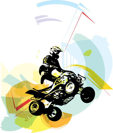 Quad bike illustration on abstract colorful background