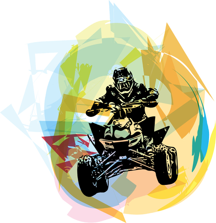 quad: Quad bike illustration on abstract colorful background
