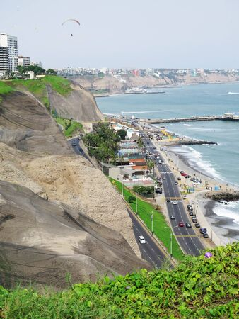 miraflores: Shot of the Green Coast beach in Lima-Peru