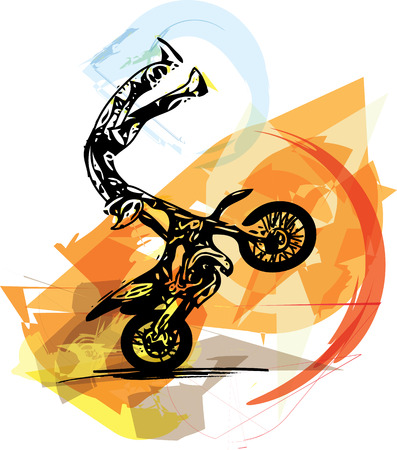 raid: Extreme motocross racer by motorcycle on abstract background