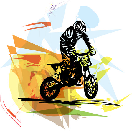 motorbike jumping: Extreme motocross racer by motorcycle on abstract background