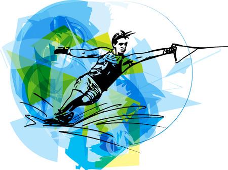 Water skiing abstract vector illustration