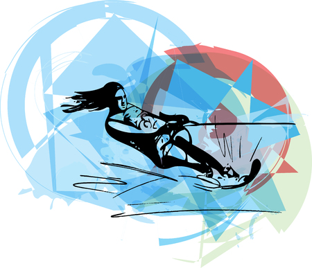 water  skier: Water skiing abstract vector illustration