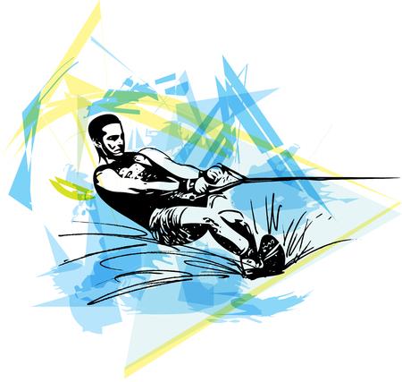 Narty wodne streszczenie ilustracji wektorowych