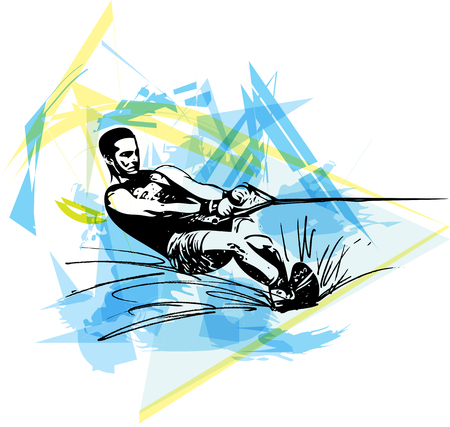 water skiing: Water skiing abstract vector illustration