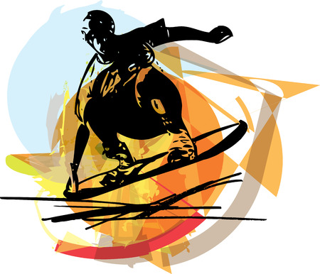 steep: Sketch of Sandboarding colorful abstract illustration