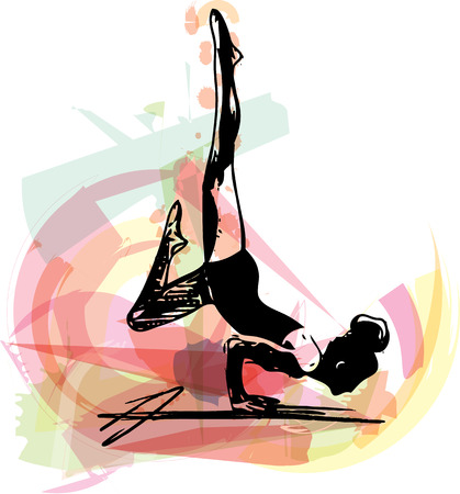 flexible woman: Yoga sketch woman illustration with abstract colorful background